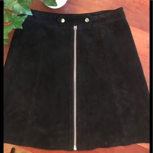 Topshop Black Suede Skirt US 8 Excellent!